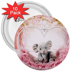 Elephant Heart Plush Vertical Toy 3  Buttons (10 Pack)