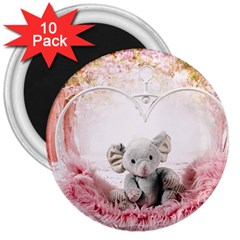 Elephant Heart Plush Vertical Toy 3  Magnets (10 Pack)