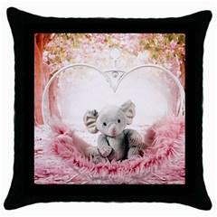 Elephant Heart Plush Vertical Toy Throw Pillow Case (black)