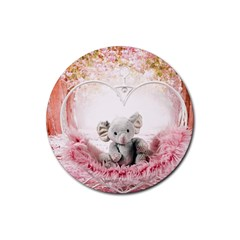 Elephant Heart Plush Vertical Toy Rubber Coaster (round)