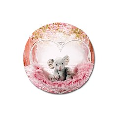Elephant Heart Plush Vertical Toy Magnet 3  (round)
