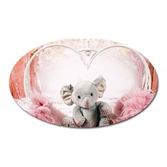 Elephant Heart Plush Vertical Toy Oval Magnet