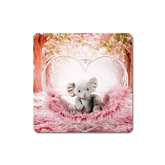 Elephant Heart Plush Vertical Toy Square Magnet