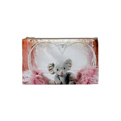 Elephant Heart Plush Vertical Toy Cosmetic Bag (small)