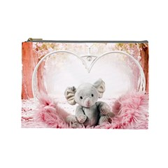 Elephant Heart Plush Vertical Toy Cosmetic Bag (large)