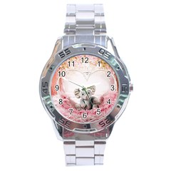 Elephant Heart Plush Vertical Toy Stainless Steel Analogue Watch