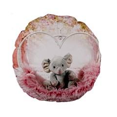 Elephant Heart Plush Vertical Toy Standard 15  Premium Round Cushions