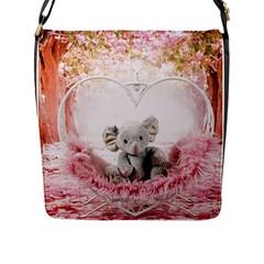 Elephant Heart Plush Vertical Toy Flap Messenger Bag (l)