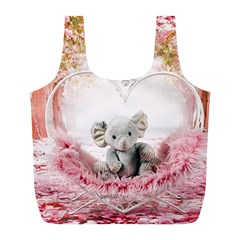 Elephant Heart Plush Vertical Toy Full Print Recycle Bags (l)