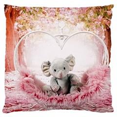 Elephant Heart Plush Vertical Toy Large Flano Cushion Case (one Side)