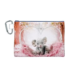 Elephant Heart Plush Vertical Toy Canvas Cosmetic Bag (m)