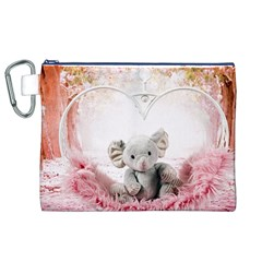 Elephant Heart Plush Vertical Toy Canvas Cosmetic Bag (xl)