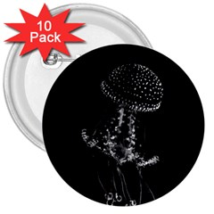 Jellyfish Underwater Sea Nature 3  Buttons (10 Pack)