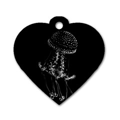 Jellyfish Underwater Sea Nature Dog Tag Heart (two Sides)