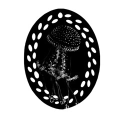 Jellyfish Underwater Sea Nature Oval Filigree Ornament (2 Side)