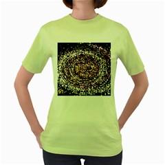 Mosaic Colorful Abstract Circular Women s Green T Shirt