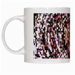 Mosaic Colorful Abstract Circular White Mugs