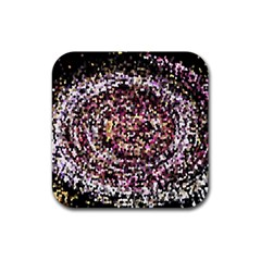 Mosaic Colorful Abstract Circular Rubber Square Coaster (4 Pack)