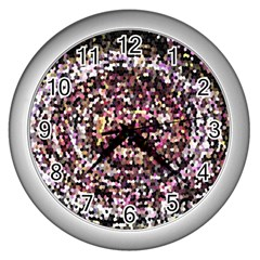 Mosaic Colorful Abstract Circular Wall Clocks (silver)