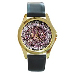 Mosaic Colorful Abstract Circular Round Gold Metal Watch