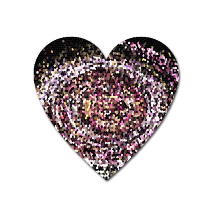 Mosaic Colorful Abstract Circular Heart Magnet