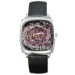 Mosaic Colorful Abstract Circular Square Metal Watch