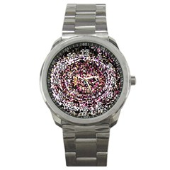 Mosaic Colorful Abstract Circular Sport Metal Watch