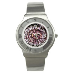 Mosaic Colorful Abstract Circular Stainless Steel Watch