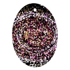 Mosaic Colorful Abstract Circular Oval Ornament (two Sides)