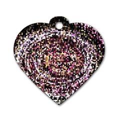Mosaic Colorful Abstract Circular Dog Tag Heart (two Sides)