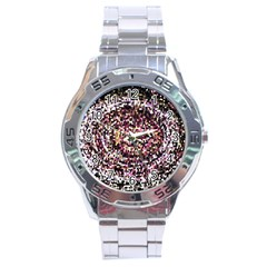 Mosaic Colorful Abstract Circular Stainless Steel Analogue Watch