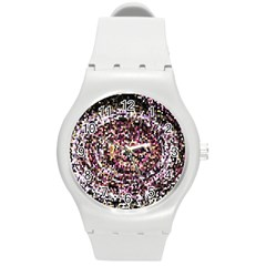 Mosaic Colorful Abstract Circular Round Plastic Sport Watch (m)