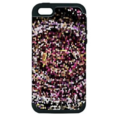 Mosaic Colorful Abstract Circular Apple Iphone 5 Hardshell Case (pc+silicone)