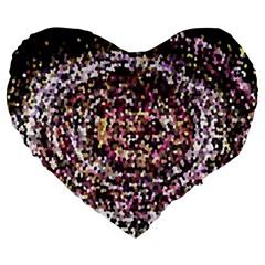 Mosaic Colorful Abstract Circular Large 19  Premium Heart Shape Cushions