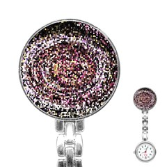 Mosaic Colorful Abstract Circular Stainless Steel Nurses Watch