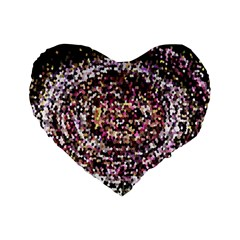 Mosaic Colorful Abstract Circular Standard 16  Premium Flano Heart Shape Cushions