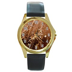 Ice Iced Structure Frozen Frost Round Gold Metal Watch