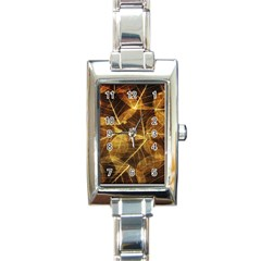 Leaves Autumn Texture Brown Rectangle Italian Charm Watch