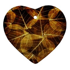 Leaves Autumn Texture Brown Ornament (heart)