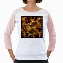 Leaves Autumn Texture Brown Girly Raglans