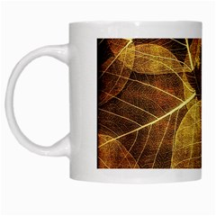 Leaves Autumn Texture Brown White Mugs