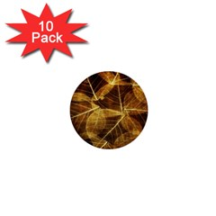 Leaves Autumn Texture Brown 1  Mini Buttons (10 Pack)