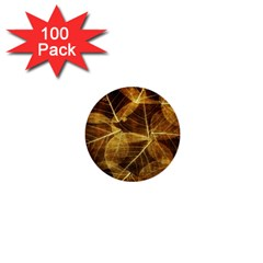 Leaves Autumn Texture Brown 1  Mini Buttons (100 Pack)