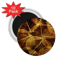 Leaves Autumn Texture Brown 2 25  Magnets (10 Pack)