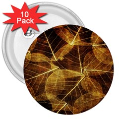 Leaves Autumn Texture Brown 3  Buttons (10 Pack)