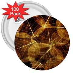 Leaves Autumn Texture Brown 3  Buttons (100 Pack)