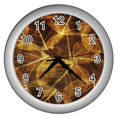 Leaves Autumn Texture Brown Wall Clocks (silver)