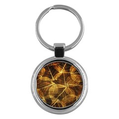 Leaves Autumn Texture Brown Key Chains (round)