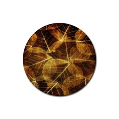 Leaves Autumn Texture Brown Rubber Coaster (round)
