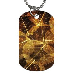 Leaves Autumn Texture Brown Dog Tag (one Side)